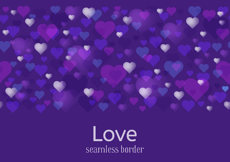 Happy Valentines Day or wedding theme. Seamless horizontal pattern or border. A lot of hearts on ultra violet background.