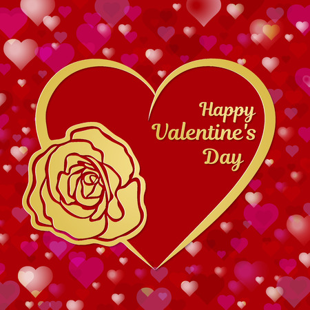 Happy Valentines Day greeting card or banner. A heart and a beautiful rose cut out from a gold paper. A red hearts on the background vector illustration.