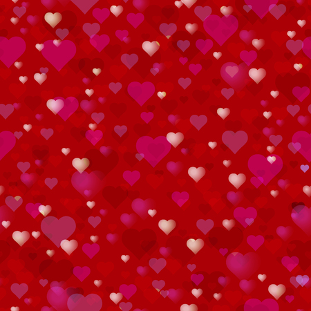 Happy Valentines Day or wedding theme. Seamless pattern. A lot of hearts on a red background.
