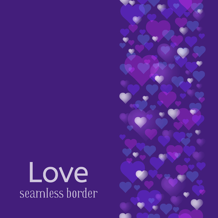 Happy Valentines Day or wedding theme. Seamless vertical pattern or border. A lot of hearts on ultra violet background.