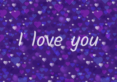 Happy Valentines Day greeting card or horizontal banner. A lot of hearts on an ultra violet background. Modern fashionable colors. 矢量图像