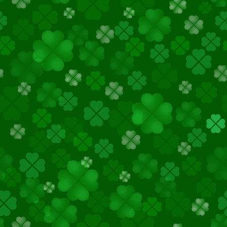 Clover quatrain seamless pattern. Irish Feast of St. Patrick Day. A lot of leaves scattered on a green background. Vector illustration. 矢量图像