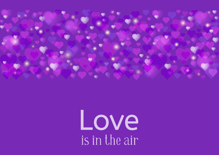 Wedding or Valentines Day greeting card. Love in the air. A lot of pink and purple hearts scattered at the trendy ultra violet background. Vector illustration. 矢量图像