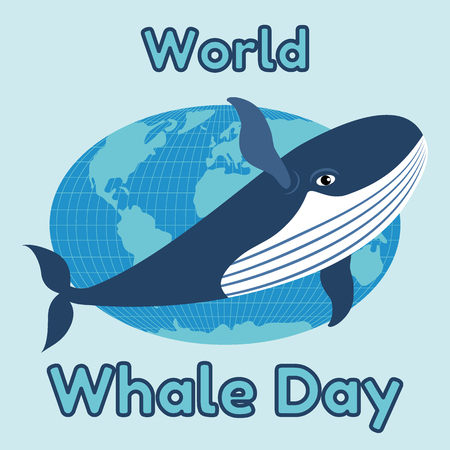World Whale Day emblem, card or banner. Cute blue whale on the background of the globe. Vector illustration. 矢量图像