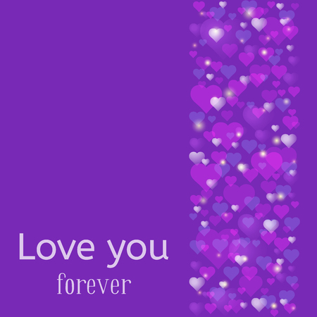 Wedding or Valentines Day greeting card. Love you forever inscription. A lot of pink and purple hearts scattered at the trendy ultra violet background. Vector illustration.
