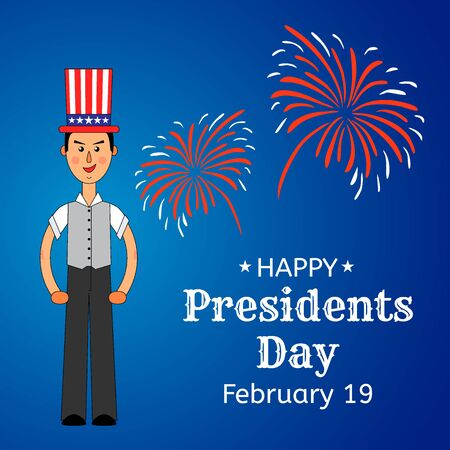 USA Presidents Day greeting card or banner. Elegant man in the US flag hat is put on his head. Festive firework in the background. Flat style design. Vector illustration. 矢量图像