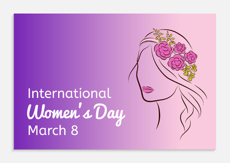 International Womens Day greeting card. Silhouette of a beautiful girl in a rim with flowers on her head. Fashionable ultra violet gradient background. Vector illustration.