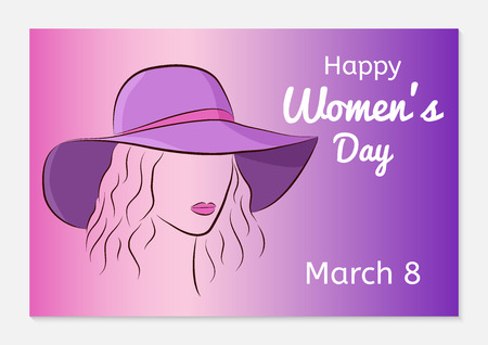 International Women Day greeting card. Silhouette of a beautiful girl in a broad hat on her head. Fashionable ultra violet gradient background. Vector illustration.