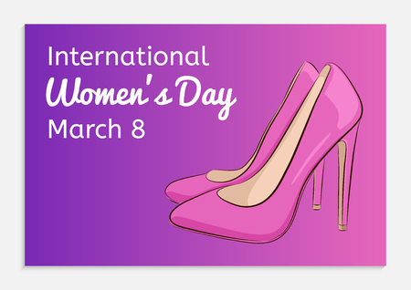 International Women Day greeting card. Beautiful female shoes with high heels. Fashionable ultra violet gradient background. Hand drawing style. Vector illustration.