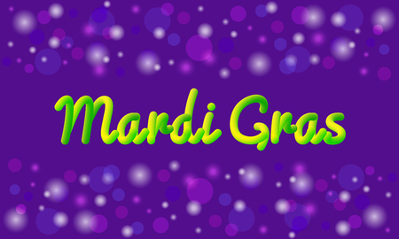 Mardi Gras theme vector banner or greeting card. 3D effect text. Traditional violet, green, yellow carnival colors.