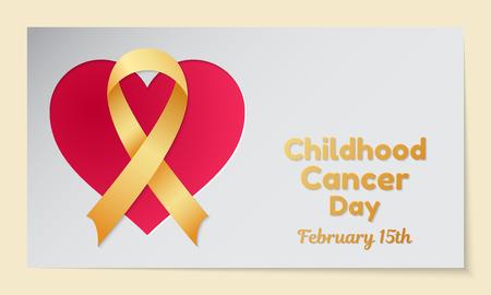 Childhood Cancer Day thema. Briefkaart of banner met een hart uitgesneden in papier, een gouden lint en lijkend op een inscriptie. Vector illustratie