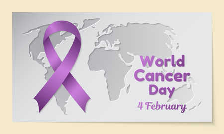 World Cancer Day theme. Postcard or banner with a map cut out in paper, a purple ribbon and resembling an inscription. The date of the event is 4 February. Vector illustration.