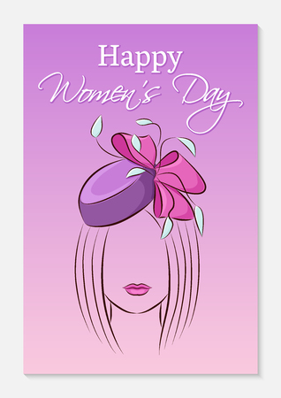 International Women's Day greeting card. Silhouette of a beautiful girl in a smart hat with a bow on her head. Fashionable ultra violet gradient background. Vector illustration. 矢量图像