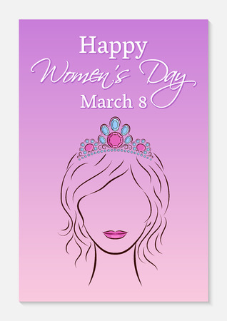 International Women's Day greeting card. Silhouette of a beautiful girl in a in a precious diadem on her head. Fashionable ultra violet gradient background. Vector illustration.