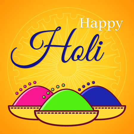 Holi festival of spring and bright colors in India. Traditional colored powder Gulal and symbolic wheel in the background. Flat icon vector design. Usable for design greeting card, banner, invitation.