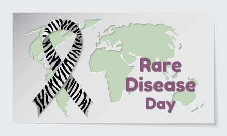 Rare Disease Day theme. Postcard or banner with a map cut out in paper, a zebra print ribbon and reminding an inscription. Vector illustration.