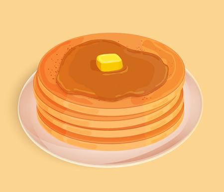 蜂蜜、トッピングまたはメープルシロップとプレート上のバターの一部とパンケーキ。ベージュの背景に分離されたアイコン。ベクトルイラスト。  イラスト・ベクター素材