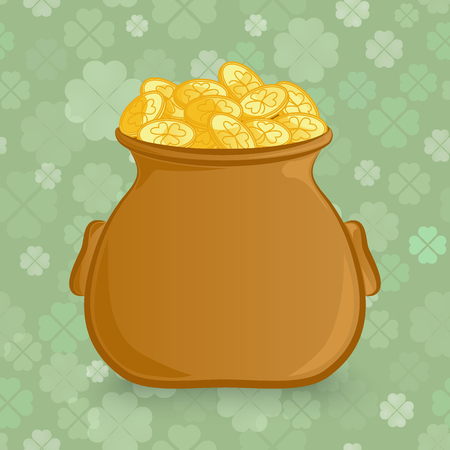 Irish holiday St. Patrick's Day theme. Cartoon vector icon. Leprechaun's pot of gold isolated on a seamless pattern background with clover leaves.