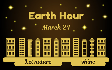 Earth Hour theme vector illustration. Skyscrapers with the lights off and the night background with shining stars. Reminding inscription. Postcard or banner for your design.