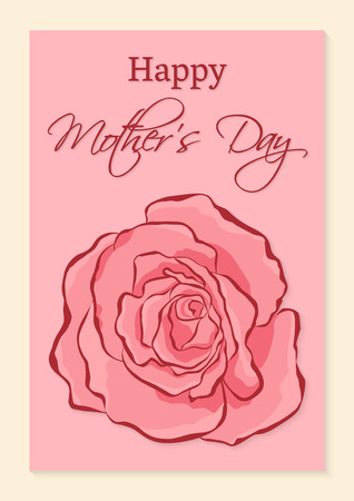 Happy Mothers Day greeting card. A beautiful realistic rose on a pink background. 矢量图像