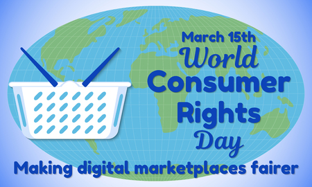 World Consumer Rights Day theme Greeting card or banner. Vector illustration.
