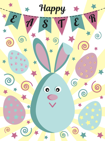Happy Easter greeting card with a cute rabbit or a hare, painted eggs, flags and stars. Usable for design, invitation, banner, background, poster. Vector illustration.