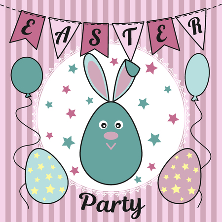 Easter party invitation with a cute rabbit or a hare, painted eggs, flags, balloons and stars. Usable for design, invitation, banner, background, poster. Vector illustration.
