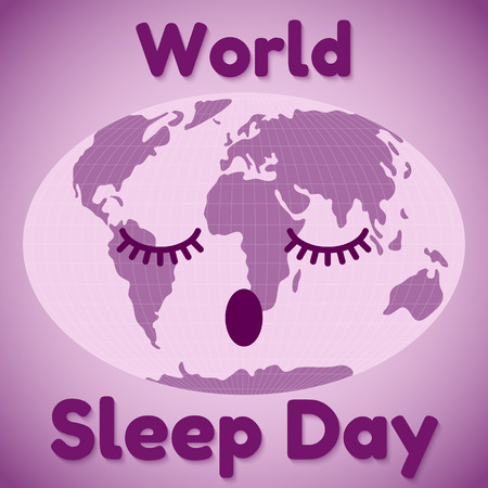 World Sleep Day theme. Greeting card or banner in purple. Vector illustration. 矢量图像