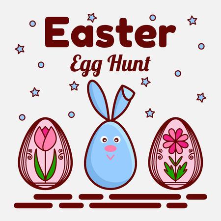 Easter egg hunt theme vector illustration 矢量图像