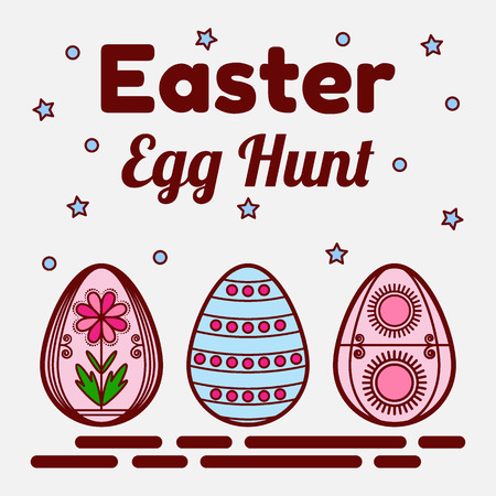 Easter egg hunt theme. Flat icons of three colored eggs. Can be used as a greeting card, invitation, banner. Vector illustration. Banco de Imagens