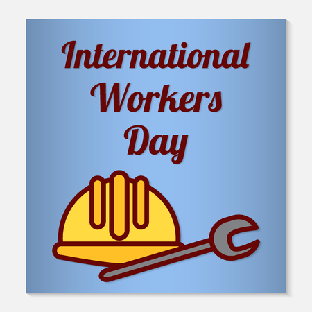 International Workers Day greeting card or banner. Flat icons are a protective helmet and a wrench as holiday symbols. Vector illustration