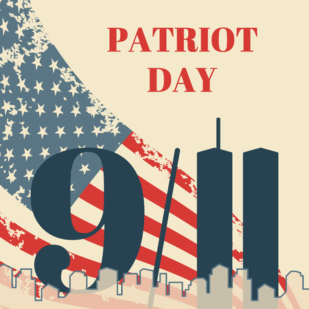 Patriot Day in USA square banner. Card with the American flag, the silhouette of the city and twin towers. Vector grunge illustration