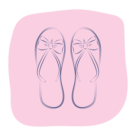 Beach flip flops with a bow. Summer fashion accessories. Contour object on a pink background. Vector sketch illustration in hand drawing style for your design. 矢量图像