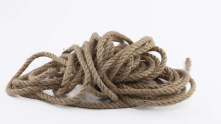 Jute rope skein isolated on white background