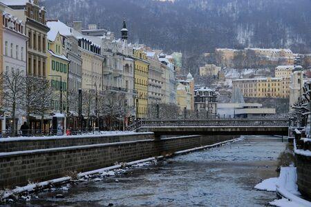 karlovy: Bank of the Tepla river in Karlovy Vary