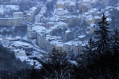 karlovy: Winter view of Karlovy Vary from the top of the mountain