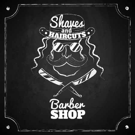 barber shave: Barber glasses. Vector illlustration. Chalk board.