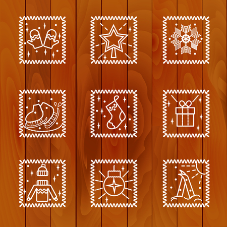 christmas tree illustration: Christmas Icons with Tree Background. Vector illustration.