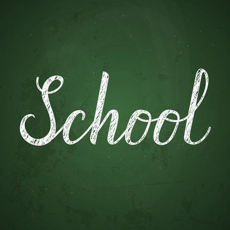 intermediate: Lettering School Typographical Background On Chalkboard. illustration