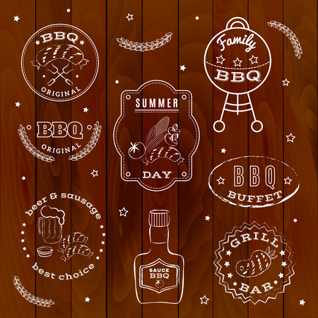 cousin: Barbecue set made with chalk on a wooden background.