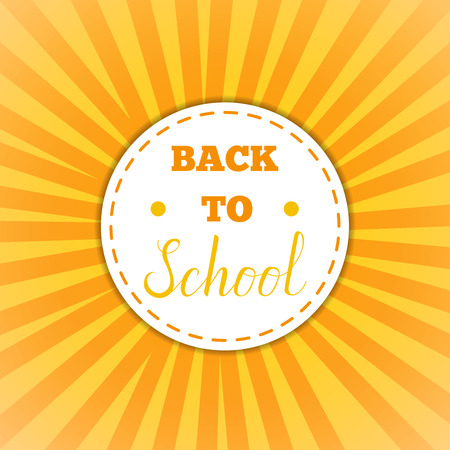 oldschool: Back To School Cirle yellow Banner. Vector Flat Illustration.Back to School round Sticker. Education and web design Concept. Back to School lettering phrase on oldschool badge with yellow rays Illustration