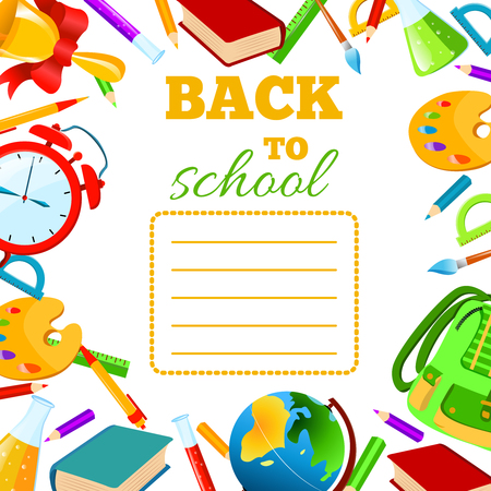 exercise book: Back To School cover for children teenagers school exercise book. Vector set Illustration.Back to School phrase with colorful school items and supplies around it. Education and web design concept. Illustration