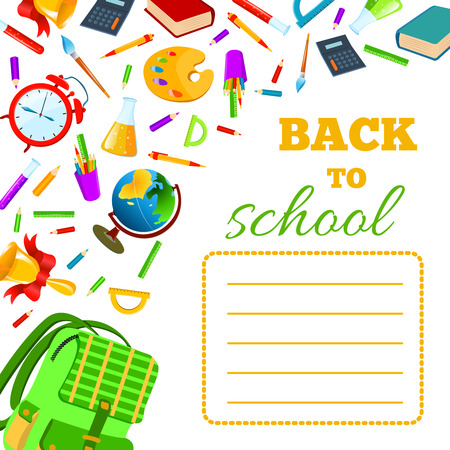 exercise book: Back To School cover for children teenagers school exercise book. Vector set Illustration.Back to School phrase with colorful school items and supplies composition. Education and web design concept. Illustration