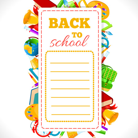 timetable: Timetable with inscription Back To School on background of school supplies.Vector illustration.School schedule Back to School phrase and school accessories composition.Education and web design concept