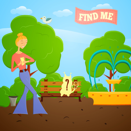 Cartoon girl with mobile phone go searching in global world wide game on a nature.illustration. Fashion girl go try to catch rare animal with mobile app in a park with trees.Game style design. Illustration