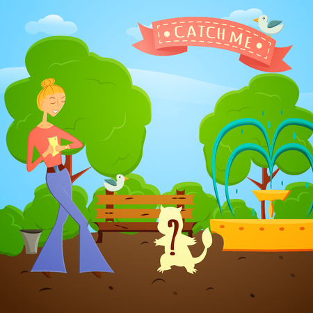 rare animal: Cartoon girl with mobile phone go searching in global world wide game on a nature.illustration. Fashion girl go try to catch rare animal with mobile app in a park with trees.Game style design. Illustration