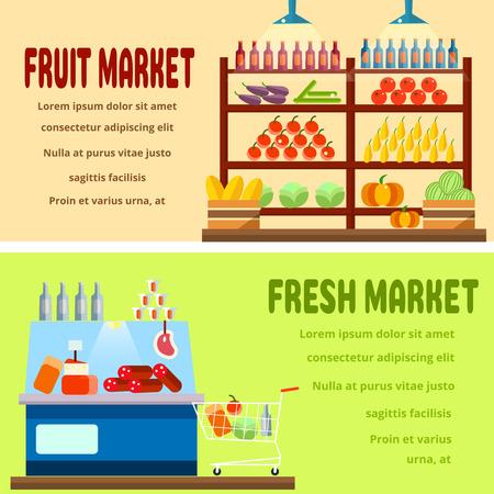 edibles: Fruit market interior shelf with fruits,vegetables,drinks,bottles. Fresh market interior shelf with different cheese,meat,bottles,drinks,preserves.Healthy food.Set of 2 flat illustrations Illustration