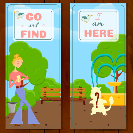 try: 2 postcards with cartoon girl with mobile phone go searching in global world wide game on a nature.Fashion girl go try to catch rare animal with mobile app in a park with trees.Game style design