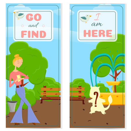 someone: 2 postcards with cartoon girl with mobile phone go searching in global world wide game on a nature.Fashion girl go try to catch rare animal with mobile app in a park with trees.Game style design