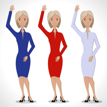 welcome smile: Three business women in red, white and blue dresses, with  smile. Welcome gesture - a raised hand. Illustration